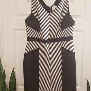 Black & White Stripes Midi Dress 2X